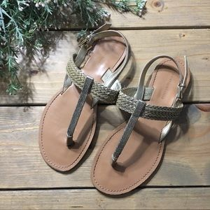 Tommy Hilfiger Gold T-Strap Sandals